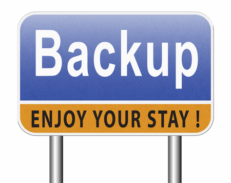 backup data document or file online on copy in the cloud on a harddrive disk on a computer or server for file security