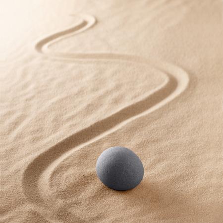 harmony purity and spirituality background, zen meditation stone sand garden. Mindfulness, yoga or spa wellness concept Standard-Bild - 119667835