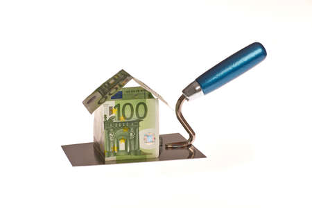 Working glove keeps trowel with House of Euro money photo