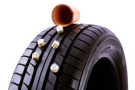 car retailer: Tyre and Cube Stock Photo