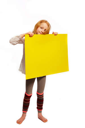 interpreter: Girl holds up a sign Stock Photo
