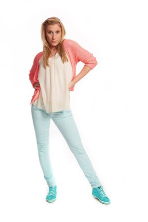 uphold: Young woman with pink cardigan
