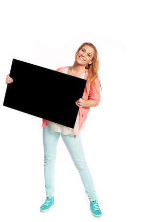 reklame: Young woman with black advertising sign Stock Photo