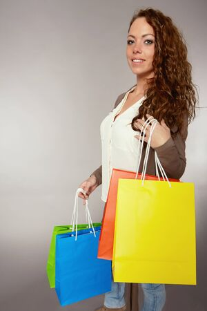 purchasers: Woman has fun on spending spree Stock Photo