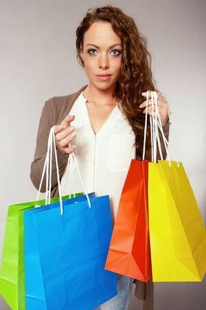 purchasers: Woman has fun Stock Photo