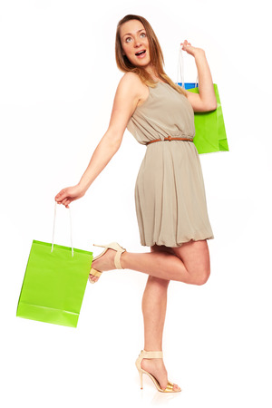 purchasers: Pretty Young Women like shopping centers Stock Photo