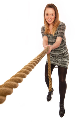 woman handle success: women with rope