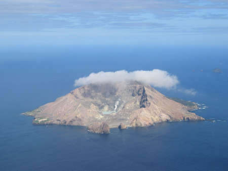 active volcano: Aerial view of the active volcano on White Island, a small volcanic island off the coast of New Zealand