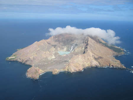 Aerial view of the active volcano on White Island, a small volcanic island off the coast of New Zealand photo
