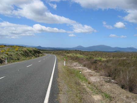 tongariro: Lonely road in the Tongariro National Park, New Zealand Stock Photo
