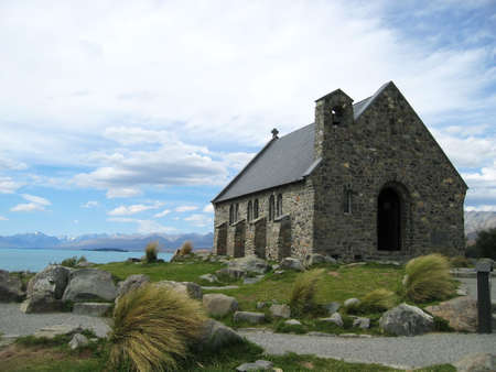 tekapo: The Church of the good shepherd, a small chapel on the coast of Lake Tekapo, New Zealand