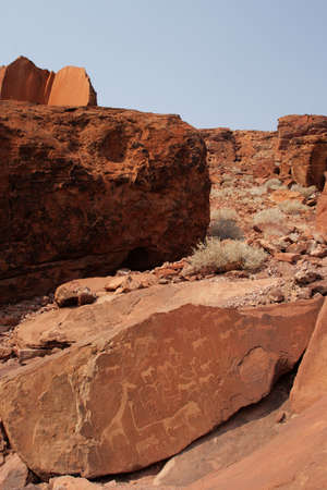 engravings: Rock Engravings in Twyfelfontein, Namibia, done by the native inhabitants in prehistoric time, today a Unesco World Heritage Site