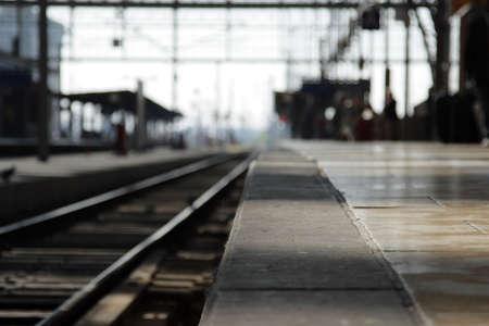 Empty railway platform, focus on the foreground. photo