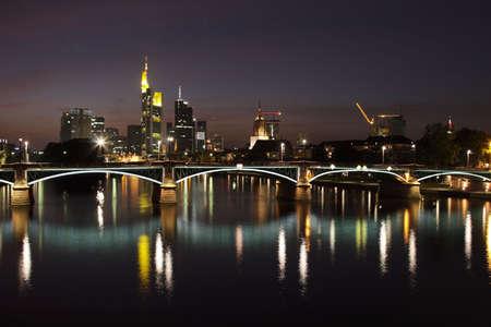Skyline of Frankfurt am Main at night. photo