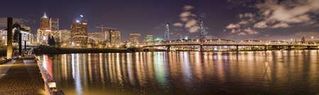 willamette: Portland, Oregon Panorama.  Night scene with light reflections on the Willamette River