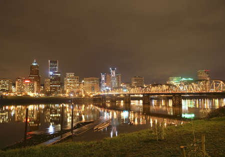 Portland, Oregon Panorama.  Night scene with light reflections on the Willamette River
