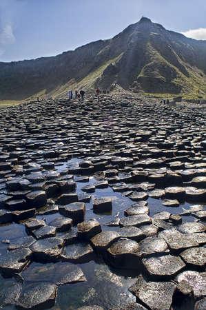 Landschap van Giant's Causeway Noord-Ierland Stockfoto