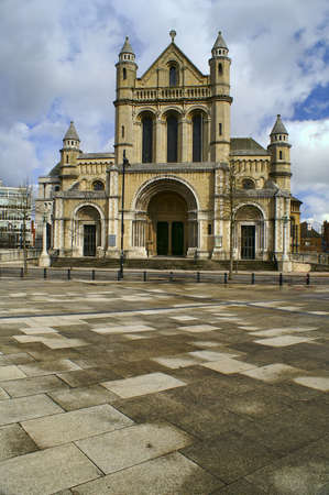 Beautiful Cathedral of Saint Anne with Cloudy Blue Sky in Belfast City, Northern Ireland. Stock Photo