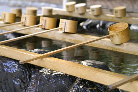 Beautiful Picture of Japanese Purification Fountain in Shinto Temple.