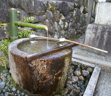 Beautiful Picture of Japanese Purification Fountain at Kiyomizu Temple.