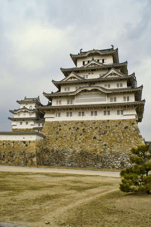 ninja ancient: Ancient Samurai Castle of Himeji with Blue Cloudy Sky.  Japan.