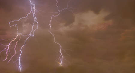 Composite abstract Image of a dramatic background with Lightning bolts in the foreground. Stock Photo - 6250402