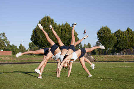 A composite of a female athlete performing a cartwheel on a grassy field.