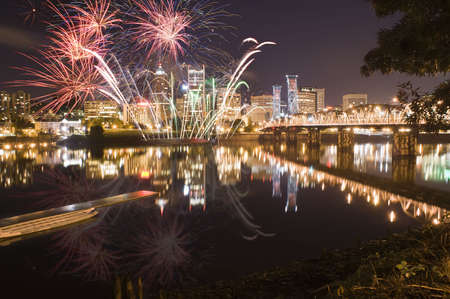 View of Portland Oregon, USA during a Fireworks Show. Stock Photo
