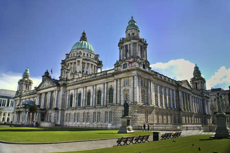 Beautiful Picture of City Hall in Belfast Northern Ireland, with bright blue sky. Stock Photo - 8181700