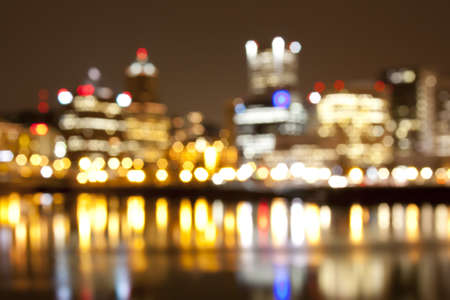 Abstract View of Portland, Oregon overlooking the willamette river. photo