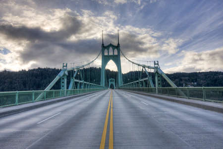 steel arch bridge: Beautiful Image of Saint Johns Bridge in Portland, Oregon.