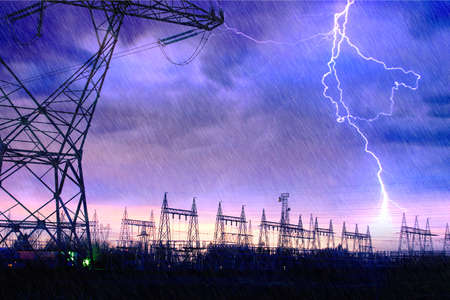 grid: Dramatic Image of Power Distribution Station with Lightning Striking Electricity Towers.