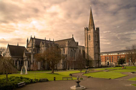 Saint Patricks Cathedral in Dublin, Ireland on an overcast day. Stock Photo