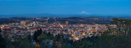 View of Portland, Oregon from Pittock Mansion at Night. photo