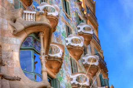 BARCELONA, SPAIN - FEBRUARY 25: Casa Batllo on February 25, 2012 in Barcelona, Spain. The famous building was designed by Antoni Gaudi.