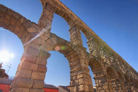 Ancient Aqueduct in Segovia Spain.  A historic european landmark. photo