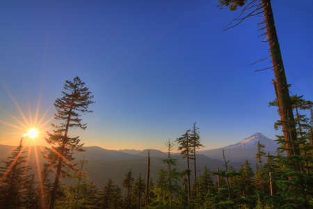 Majestic View of Mt  Hood on a bright, sunny day during the summer months Stock Photo - 14691249