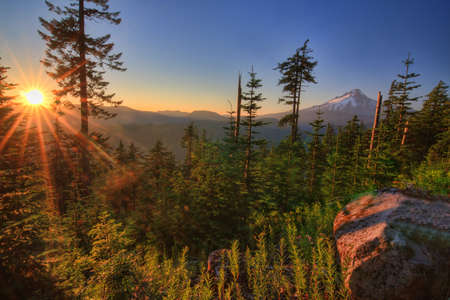 Majestic View of Mt  Hood on a bright, sunny day during the summer months  Stock Photo - 14691250