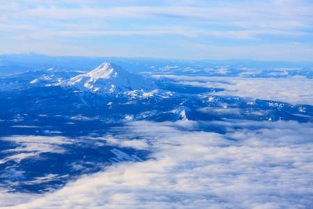 mt hood: Aerial Image of Snow Covered Mount Hood in Oregon, USA.