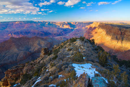 red rock canyon: Beautiful Landscape of Grand Canyon from Desert View Point with the Colorado River visible during dusk