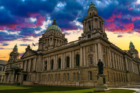 Beautiful Picture of City Hall in Belfast Northern Ireland during a colorful sunset  photo