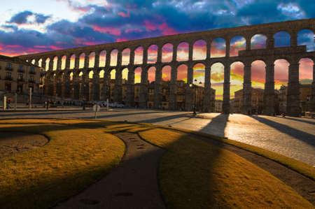 Ancient Aqueduct in Segovia Spain   A historic european landmark  Stock Photo