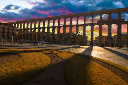 Ancient Aqueduct in Segovia Spain   A historic european landmark  Stock Photo