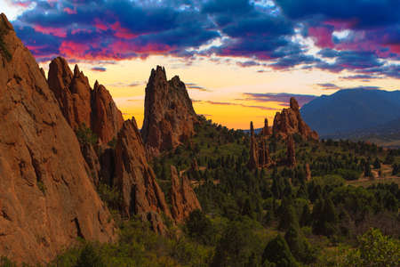 Majestic Sunset Image of the Garden of the Gods with dramatic sky