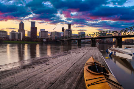 Portland, Oregon Panorama   Sunset scene with dramatic sky and light reflections on the Willamette River  photo