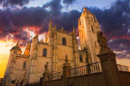 Sunset Image with dramatic sky of the Cathedral of Segovia, Spain