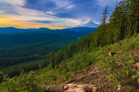 Majestic View of Mt  Hood on a bright, sunny day during the summer months  photo