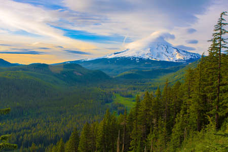 mt hood: Majestic View of Mt  Hood on a bright, sunny day during the summer months