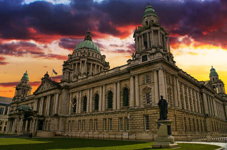 northern: Beautiful Picture of City Hall in Belfast Northern Ireland during a colorful sunset