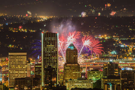 View of Portland Oregon, USA from Pittock Mansion during a Fireworks Show  Imagens